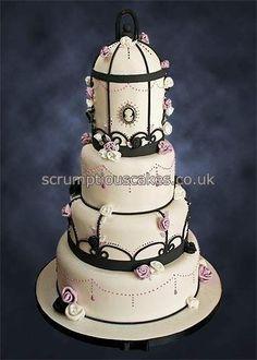 Birdcage Cameo Wedding Cake - Cake by Scrumptious Cakes