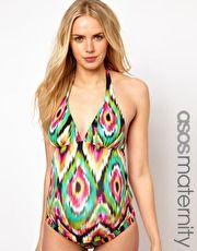 Maternity Exclusive Swimwear Tankini Top In Watercolour Ikat