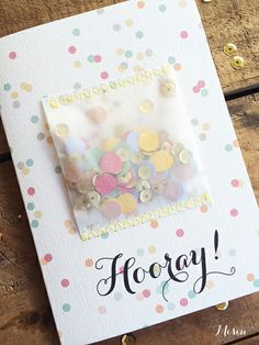 Hooray! - Handmade Confetti Greeting Card - via DTLL.