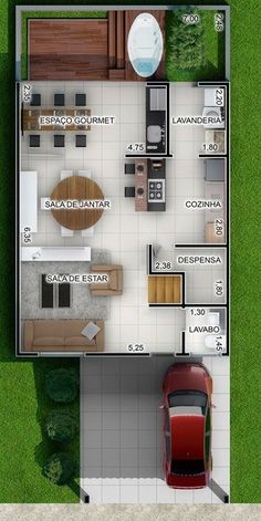 Foto 12, Casa de Condomínio, ID-54409248 Small Floor Plans, Small House Plans, House Floor Plans, Narrow House Designs, Small House Design, Autocad, Build Your House, Small Apartment Decorating, Stylish Kitchen