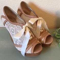 """Anthropologie Seychelles Peep Toe Lace Up Shoes These are the most adorable Seychelles shoes!! Leather, lace and ribbon so pretty, feminine, funky and fun. Such a beautiful shoe. In good condition the toe has a little nick as seen in the last picture. 4"""" stacked heel with 1"""" platform. Anthropologie Shoes Platforms"""