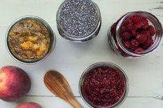 Raspberry Orange Chia Jam and Peach Chia Jam BY MCKEL HILL, MS, RD, LDN