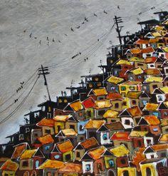 Original Contemporary Art Nicholas Broughton Brazilian FAVELA Rio de Janeiro Brazil Art, South African Art, Abstract City, Great Paintings, Urban Sketchers, Landscape Art, Easy Drawings, Contemporary Artists, Art Forms