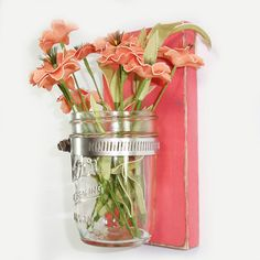 VENTE-Chalet Chic Wall Flower Vase - corail - Country Chic - pays minable Decor - Choisissez parmi plusieurs couleurs