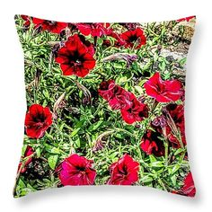"""Bright Red Throw Pillow 14"""" x 14"""""""