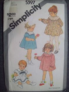 Simplicity 5397 - size 3.  Toddler's dress pattern.  Uncut and factory folded.