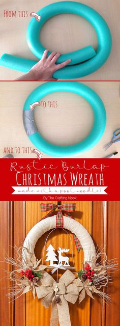 How to make a Rustic Burlap Christmas Wreath out of a pool noodle (diy christmas wreaths cheap) Christmas Wreaths To Make, Noel Christmas, Holiday Wreaths, Diy Christmas Gifts, Christmas Projects, Winter Christmas, Christmas Ornaments, Pool Noodle Christmas Wreath, Pool Noodle Wreath