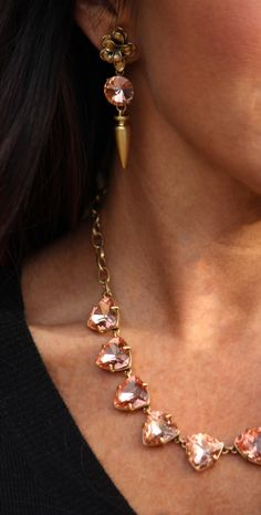 Stella & Dot's Cheryl Drops and Somervell necklace in peach. Beautiful, yet subtle color! Shop this look at www.stelladot.com/ninastulz