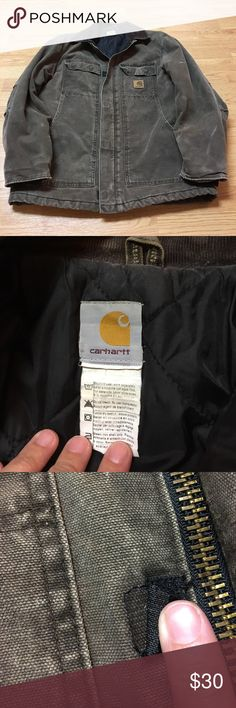 Carhartt men's coat, heavy zip-up Carhartt coat for men, has dark brown corduroy collar and features a two-directional zipper with Velcro closings. One of the Velcro closings is a little loose, pictured. Also there are light paint stains on left sleeve, also pictured. Not sure of size because tag was cut off but looks to be a medium. Still in great shape, would be a good warm coat for work! Carhartt Jackets & Coats