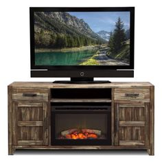 Driftwood TV Stand with Fireplace Insert for TVs up to 60 ...
