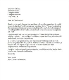Employment Follow up Letter - A follow up or thank you note can ...