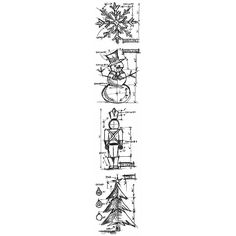 """Stampers Anonymous Tim Holtz Mini Blueprints Strip Cling Rubber Stamps 3""""X10""""-Christmas"""