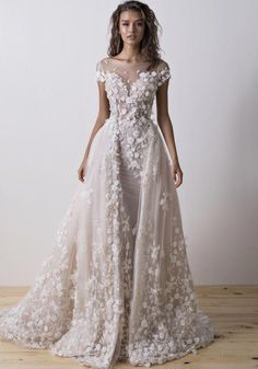 Diamond Collection - Dimitrius Dalia 2017 embroidered wedding gown with overskirt Sexy Wedding Dresses, Bridal Dresses, Wedding Gowns, Anne Hathaway Wedding, Dress Vestidos, Princess Ball Gowns, Facon, Dream Dress, The Dress