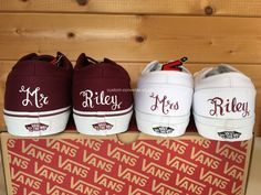 Personalized his and hers Vans #weddingshoes