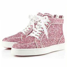 louboutin pink glitter sneakers