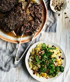 Iranian-style lamb shoulder with cranberry and pistachio spiced rice recipe | Gourmet Traveller recipe - Gourmet Traveller
