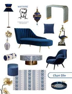 Moodboard for home decor in Pantone Classic Blue interior design trend Blue Furniture, Furniture Design, Modern Furniture, New Classic Furniture, Interior Color Schemes, Interior Colors, Meridian Furniture, Interior Styling, Interior Design