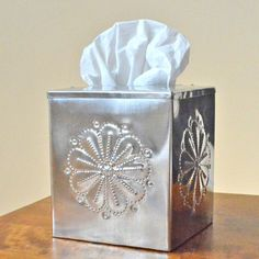 Tinwork Tissue Box Cover, Handcrafted tin tissue box cover, New Mexico – Dogwood Hill Gifts Tin Can Crafts, Metal Crafts, Tissue Box Covers, Tissue Boxes, Metal Embossing, Metal Box, Elephant Print, Diy Box, Covered Boxes