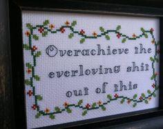Overachieve Cross stitch pattern