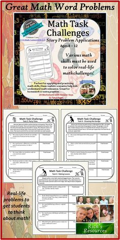These real life math word problem challenges require a variety of math skills to solve. These challenges are perfect for applying and practicing math skills and helping students understand math relevance. Great for homework or centers. Targeted age range is 8-12, but can apply to younger or older kids depending upon skill level and knowledge. $