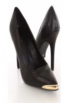 Black Faux Leather Pointy Toe Heels