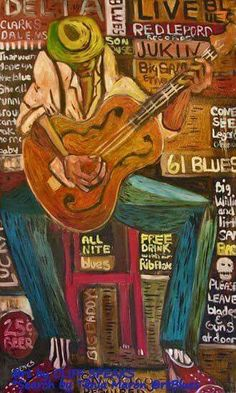 """Love Me Girl"" by Mississippian Cliff Speaks Guitar Painting, Guitar Art, Jazz Painting, Music Guitar, Delta Art, Musik Illustration, Jazz Art, Delta Blues, Blue Poster"