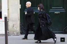 Adrian Joffe and Rei Kawakubo during Paris Fashion Week Spring Summer 2017