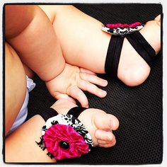 Baby Hair Clip Barefoot Sandals Baby Sandals Baby by rockabutt, $16.00