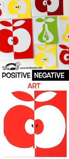 Positive / Negative Art - Best Picture For kids art projects anima School Art Projects, Projects For Kids, Children Art Projects, Apple Art Projects, Art Positif, Notan Art, Negative Space Art, Art Activities, Children Activities