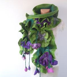 Felted  ruffle scarf  collar - Green Purple flower. One.hundred.fifteen.bucks