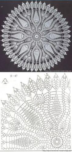Crochet Pillow Pattern, Crochet Doily Patterns, Crochet Diagram, Filet Crochet, Crochet Doilies, Knitting Patterns, Knit Crochet, Crochet Carpet, Pineapple Crochet