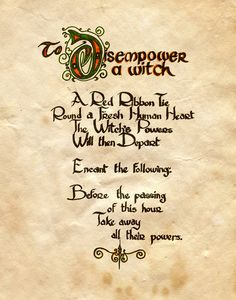 """Book of Shadows:  """"To Disempower A Witch,"""" by Charmed-BOS, at deviantART."""
