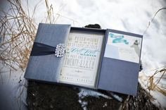 Great invitation design & color combination for this Canadian Rockies inspired wedding concept.