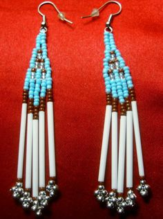 Native American Turquoise and White Seed Bead Earrings. $7.99 Click pic for info.