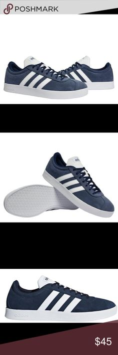 93d648904 NIB Adidas NEO VL Court Sneakers Brand new in box adidas three stripe  tennis shoes. Style is the NEO VL Court Navy blue and white.