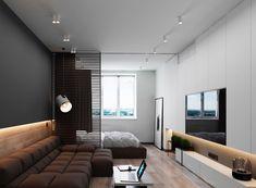 3 Luxury Apartments With Open Plan Bedroom Ideas - Modern Modern Bedroom Design, Modern Interior Design, Interior Architecture, Contemporary Bedroom, Apartment Interior, Apartment Design, Studio Apartment, Painel Tv Sala Grande, Appartement Design Studio