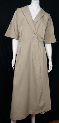 Rare Tilley Endurables Safari Travel Mid Calf Shirt Dress Pleated Beige sz Large   eBay