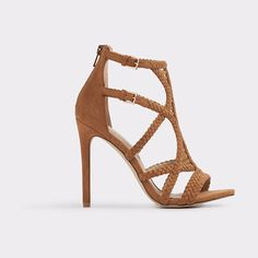 Sinfony by ALDO. Sparkle-topped suede straps and a laced caged silhouette team up for a stunning sky-high sandal. Spotlight it with high hemlines and skinny jeans. Gender: womens; Color: Cognac; Category: Women > Footwear > Heels > Open-toe heels #aldo #nudeshoes