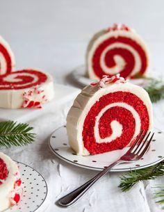 Peppermint Red Velvet Cake Roll