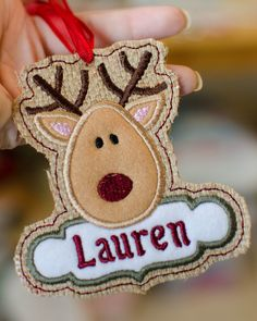 In-the-hoop REINDEER MERRY CHRISTMAS tag / Tree Ornament applique embroidery design. , via Etsy.