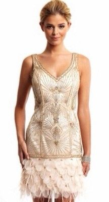 New Sue Wong Gatsby Art Deco Blush Pink Beaded Feather Evening Cocktail Dress - size 0 | eBay - $375