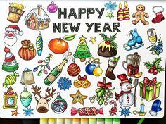 """445 Gostos, 11 Comentários - Ekaterina (@alexkipnis) no Instagram: """"New year postcard  Еще один новогодний рисунок, собравший в себе всевозможные грани нового года.…"""""""