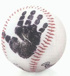 Handprint baseball - what a cute idea for your newborn. How about on a football? Or footprints on a soccer ball?