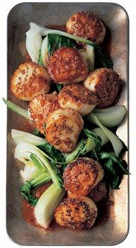 Seared Coriander Scallops with Bok Choy and Hoisin / Lisa Hubbard