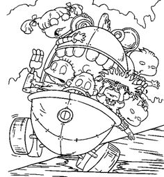 Rugrats Tommy and Spike Coloring Page Nickelodeon 90s The