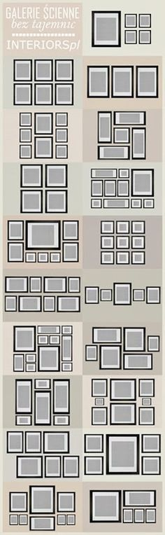 great picture layout ideas- I love collages and black picture frames