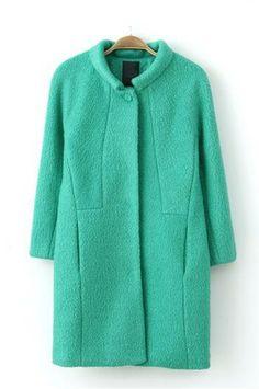 Simple wild green woolen coat