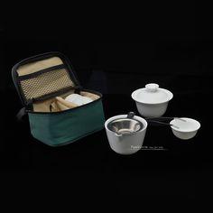Chinese White Porcelain Ceramic Travel Gaiwan Tea Set