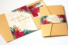 Tropical Wedding Invitation Tropical Flowers by OneSuiteDay