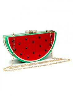 Red Watermelon Shape Box Clutch Bag